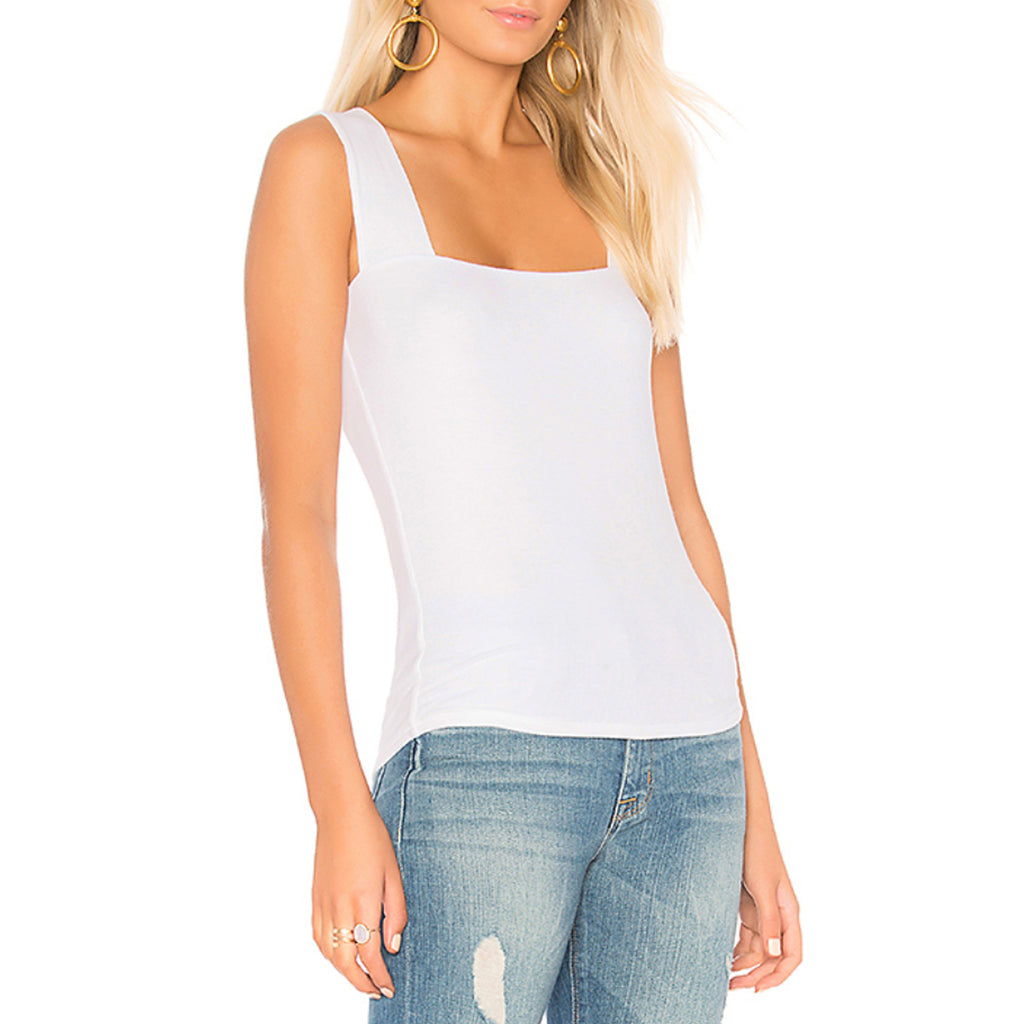 Michael Lauren Marco Wide Strap Tank in White