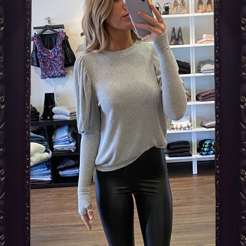Michael Lauren Olaf Puff Sleeve Ribbed Top in Grey