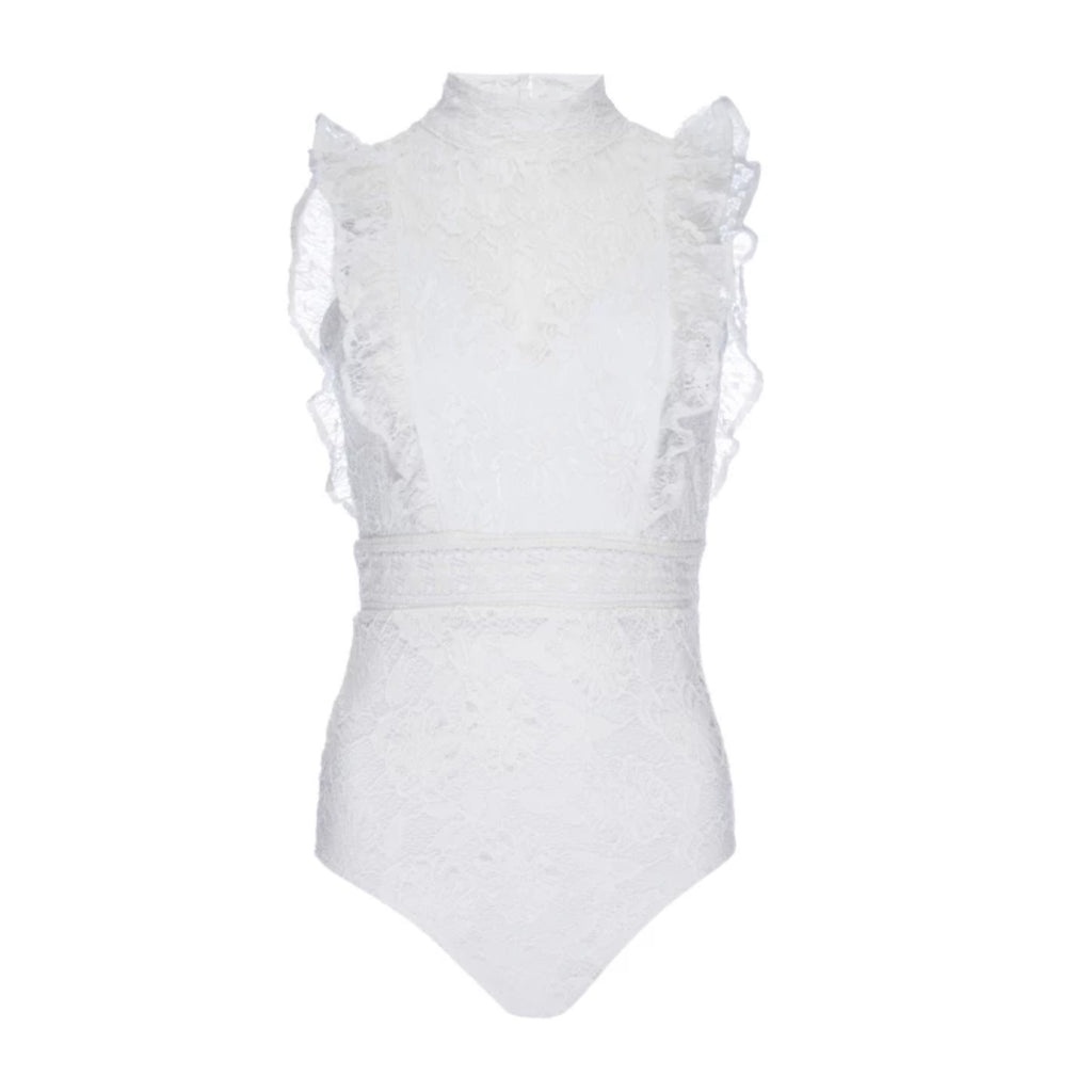 Nightcap Clothing Victorian Apron Bodysuit in White