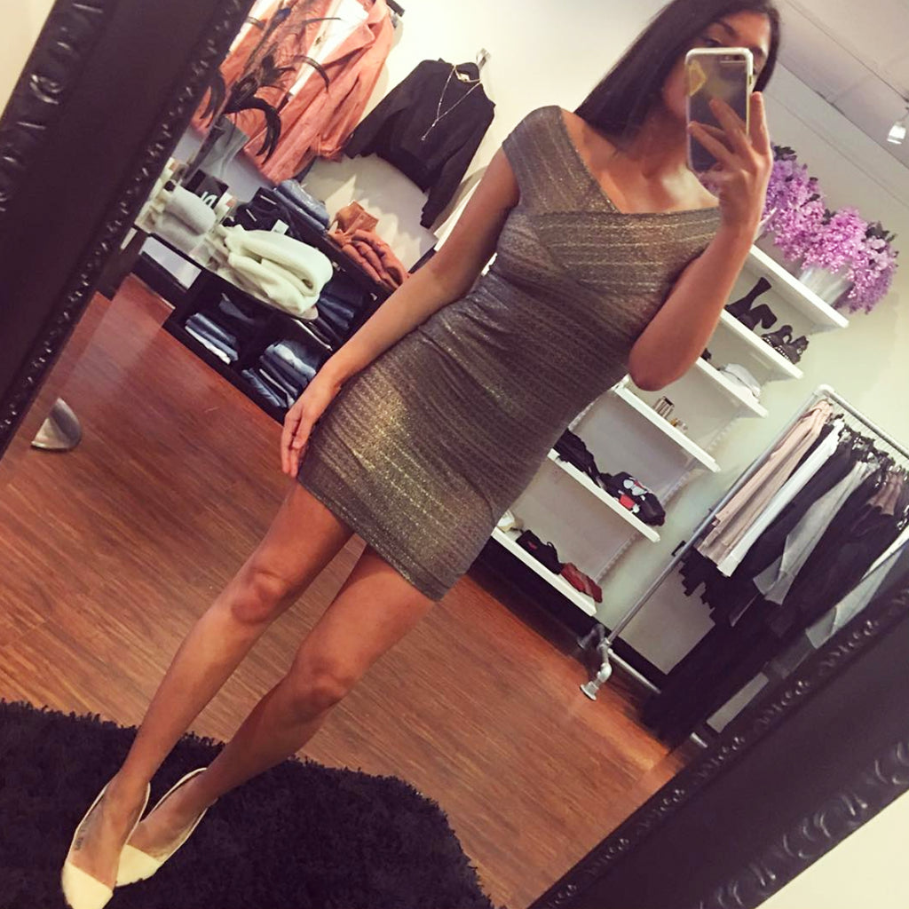 Nightcap Clothing Champagne Lace Metallic Mini Dress