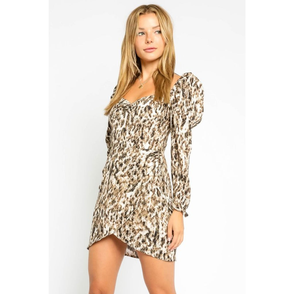 Leopard Puff Sleeve Long Sleeve Dress