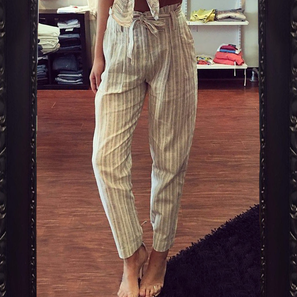 Olivaceous Striped High Waisted Pant