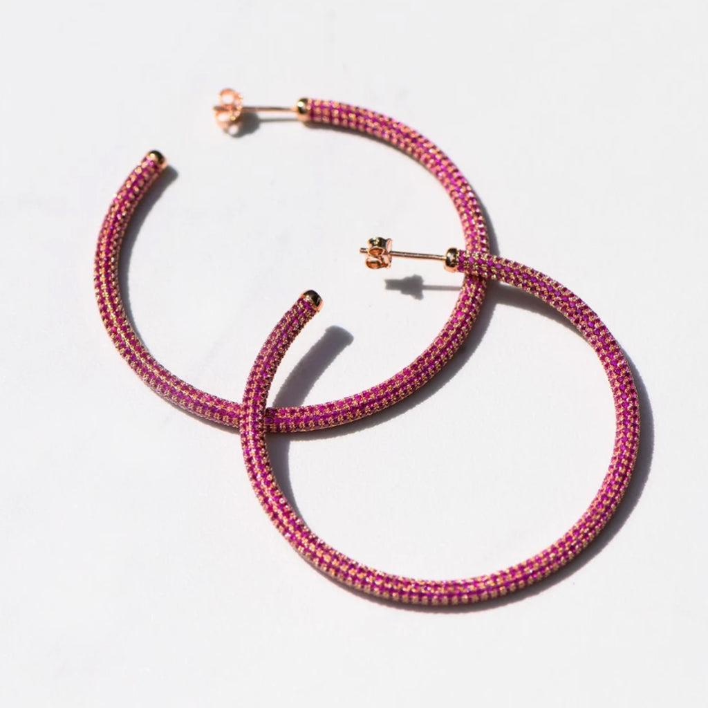 Samfa Style Large Pave Diamond Hoops in Hot Pink