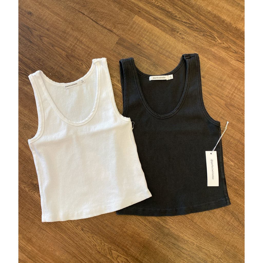 Perfect White Tee Blondie Tank in Vintage Black