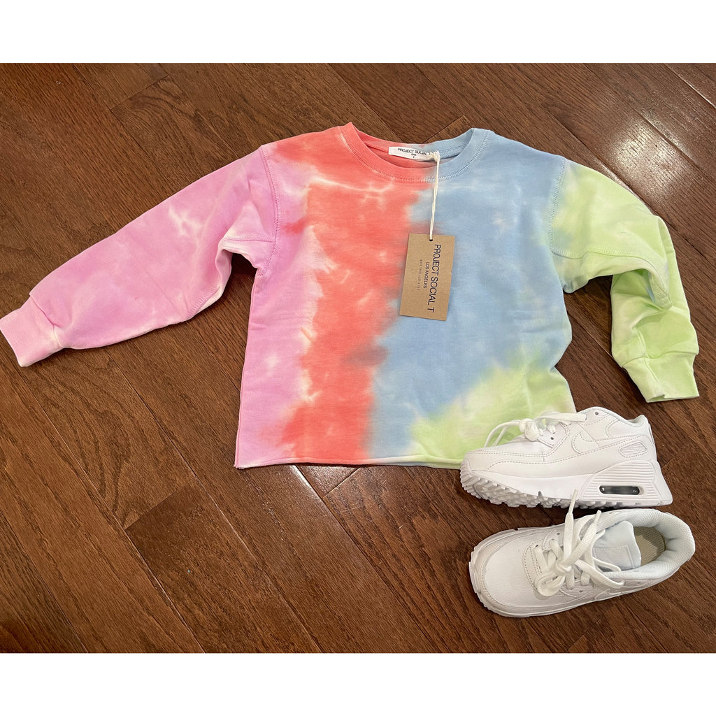 Project Social T Kids Tie Dye Crew Neck Sweatshirt