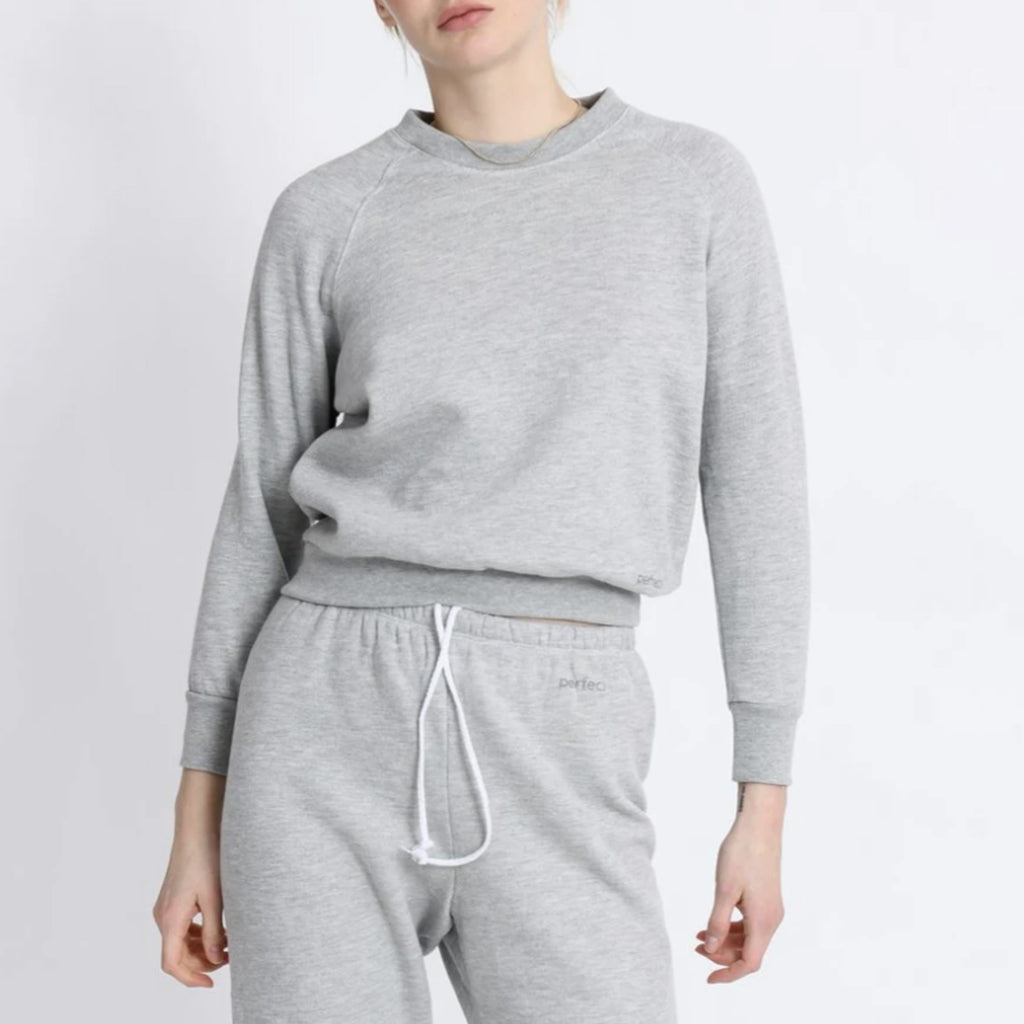 Perfect White Tee Lennon Shrunken Sweatshirt in Heather Grey