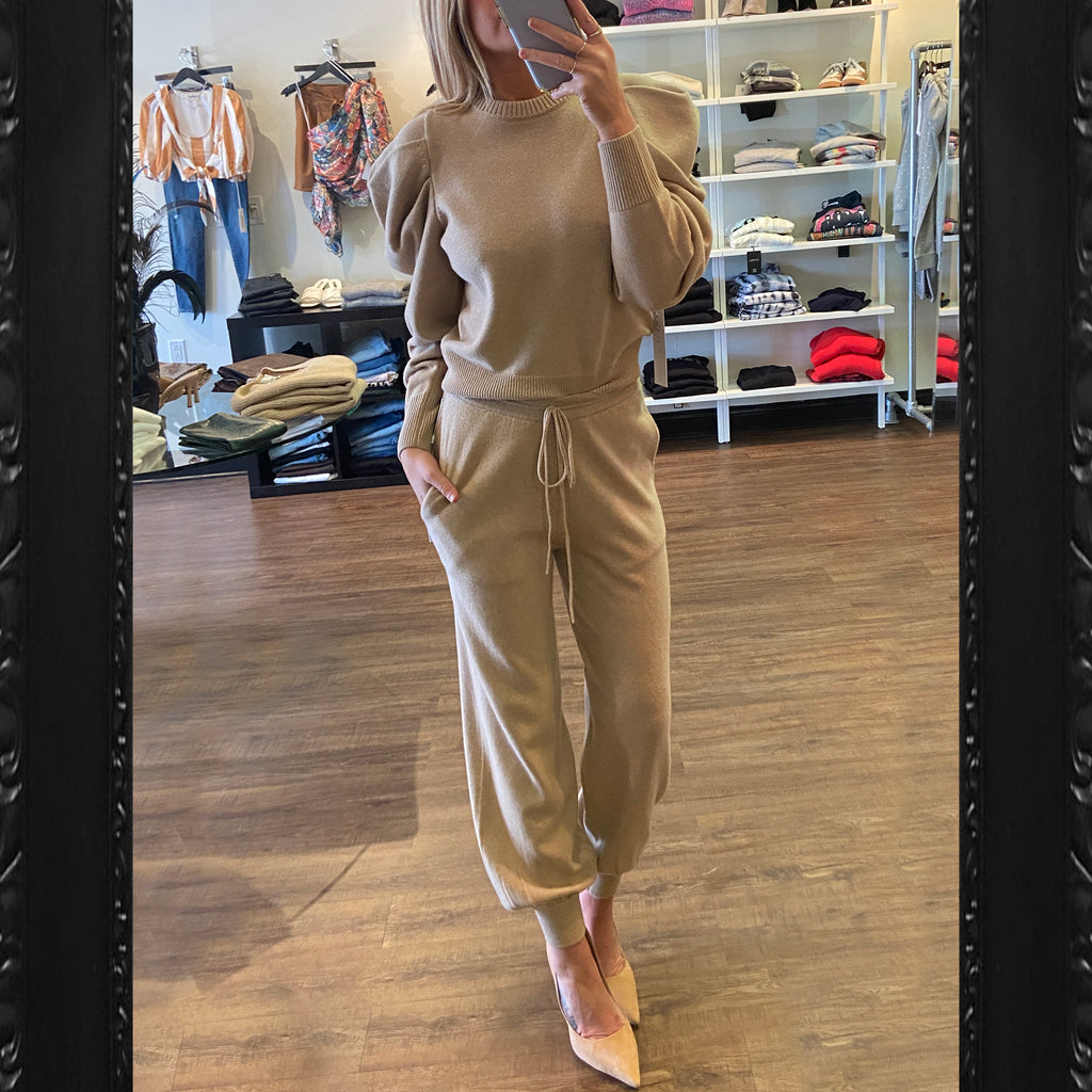 Ronny Kobo Cashmere Jogger in Sand