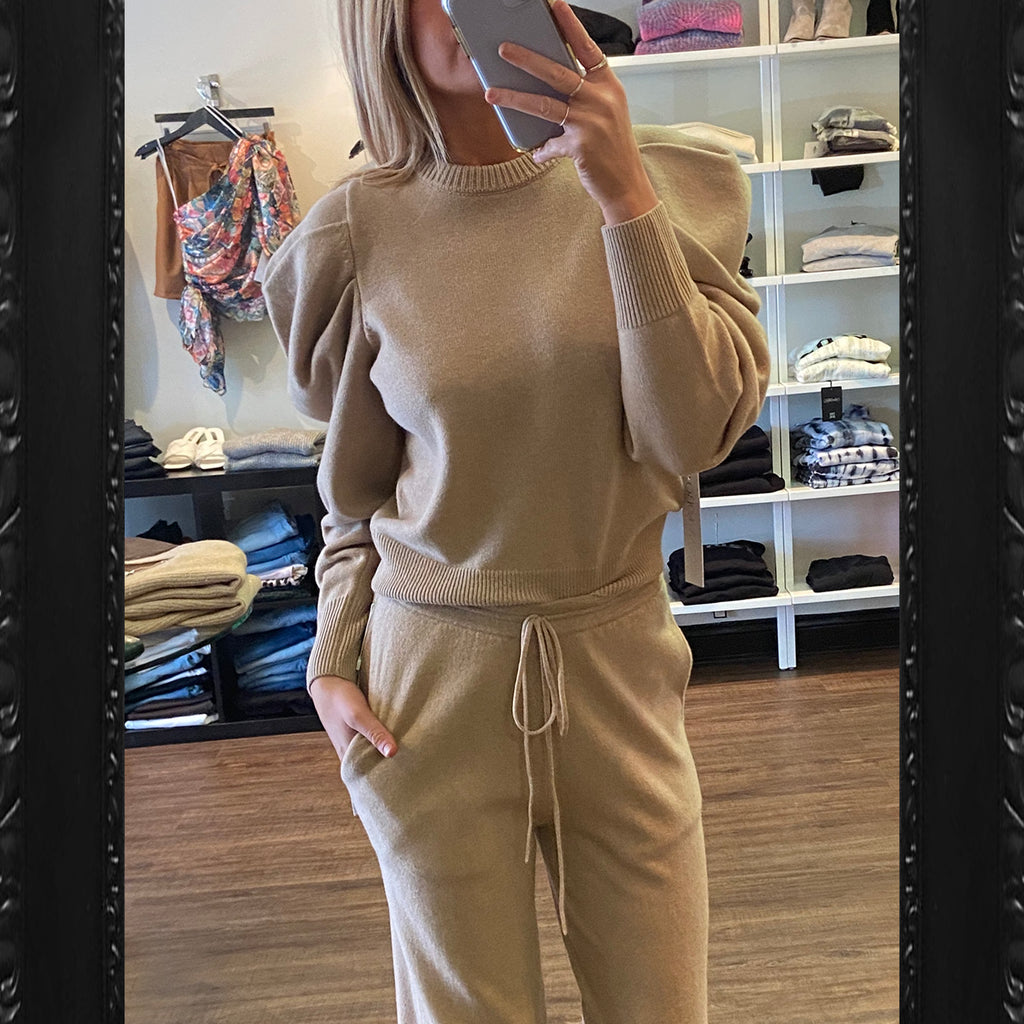 Ronny Kobo Danson Cashmere Sweater in Sand