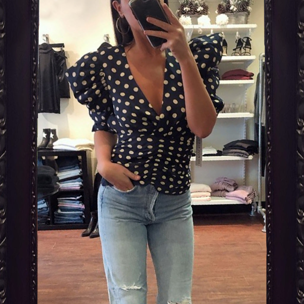 Ronny Kobo Liliana Polka Dot Top