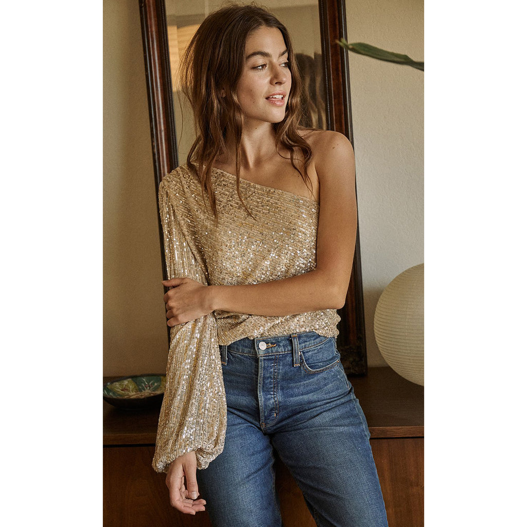 Saylor Felicity One Shoulder Sequin Top