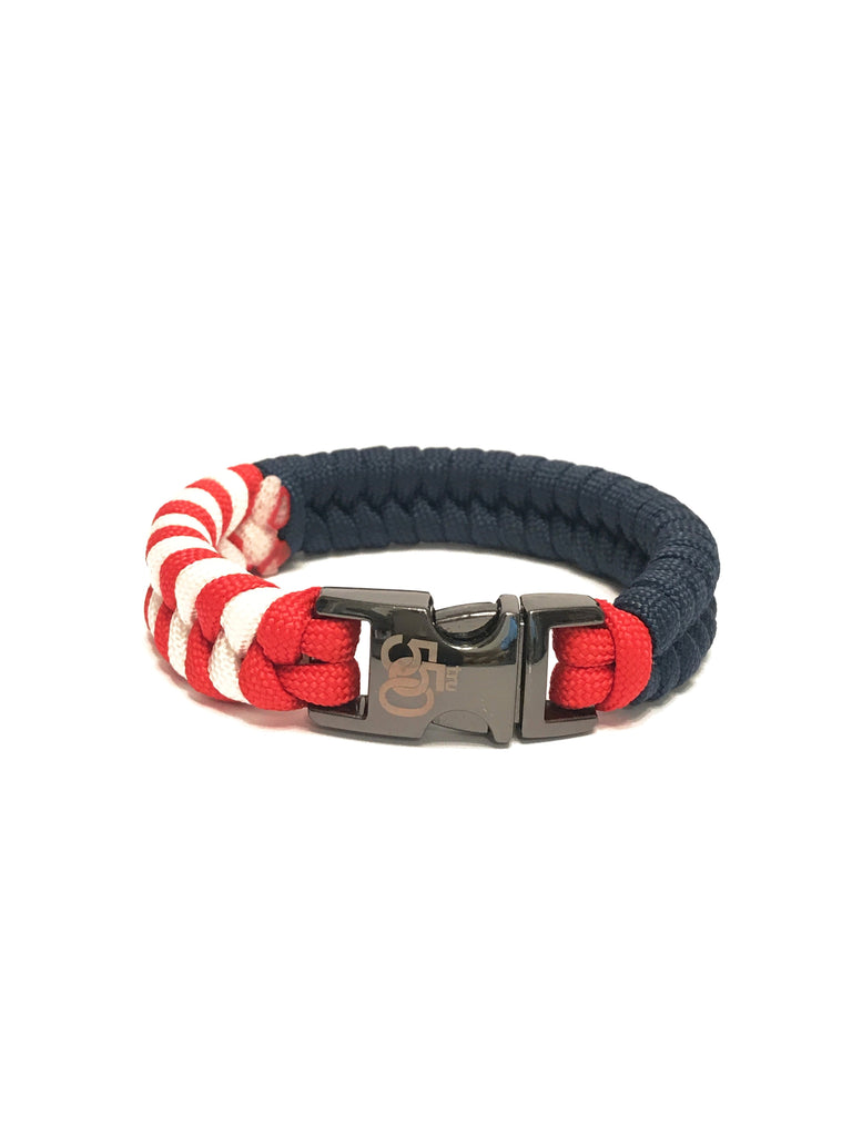 USA American Flag  Paracord Bracelet with Gun Metal Buckle