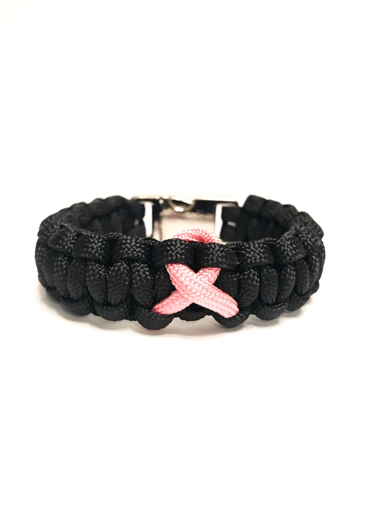 Breast Cancer Awareness Pink Ribbon Black Paracord Survival Jewelry Bracelet