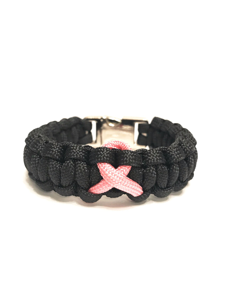 Breast Cancer Awareness Pink Ribbon Black Paracord Bracelet