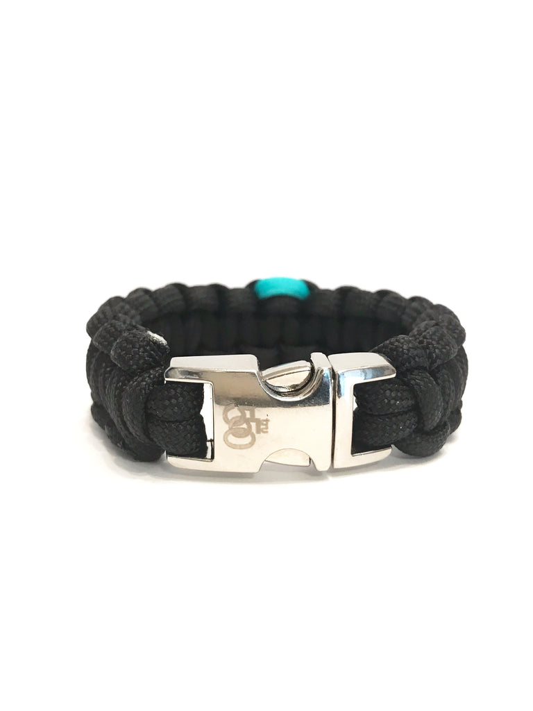 PTSD Awareness Teal Ribbon Black Paracord Jewelry Bracelet