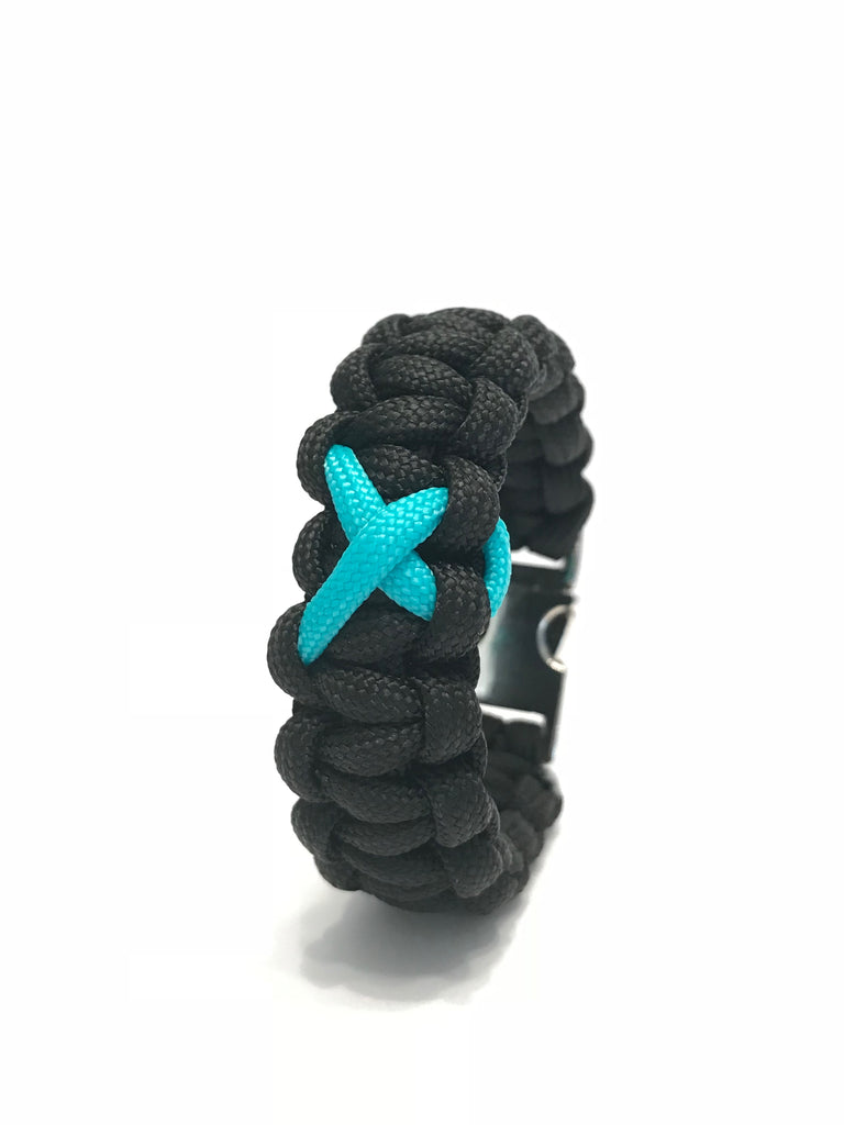PTSD Awareness Teal Ribbon Black Paracord Survival Jewelry Bracelet
