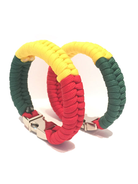 Tru550 Rasta Mens & Women Paracord Survival Bracelet Jewelry
