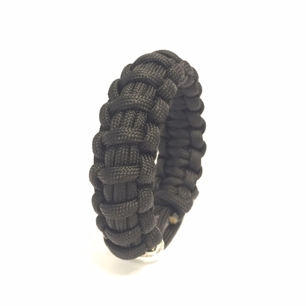 Tru550 Mens Jewelry All Black Paracord Survival Bracelet