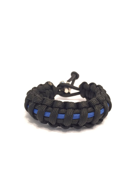 Thin Blue Line NYPD Mens Jewelry Paracord Survival Jewelry Bracelet