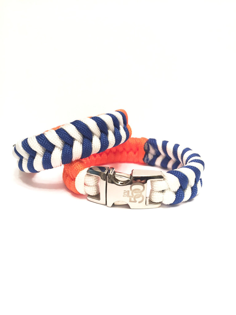 Mens Jewelry Team New York Sports Blue and White Stripe Paracord Survival Bracelet