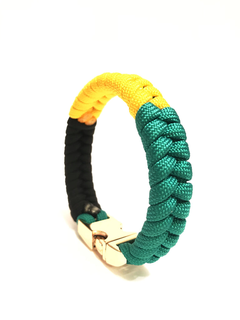 Jamaican Flag Mens & Women Paracord Survival Bracelet Jewelry Flag of Jamaica with Gold Buckle