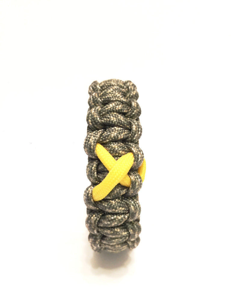 Support Our Troops Yellow Ribbon Black Paracord Survival Jewelry Bracelet