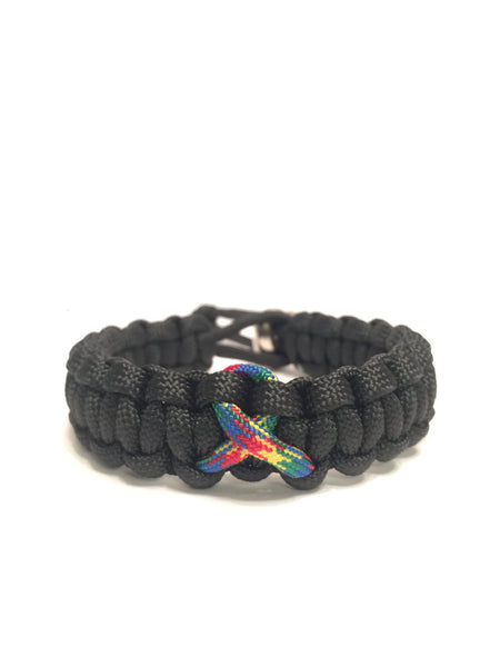 Autism Awareness Adjustable Black Paracord Bracelet