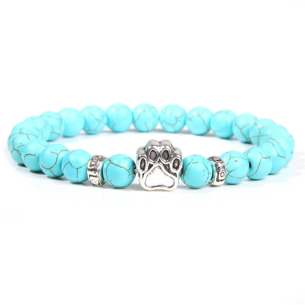 Natural Stone Beads Bracelet Dog Claw Paw Alloy Accessories Bloodstone Turquoises Agates Women Men Bracelets Child Cute Jewelry