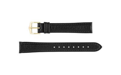 Camelgrain by HIRSCH - Men's Black Textured Leather Watch Strap