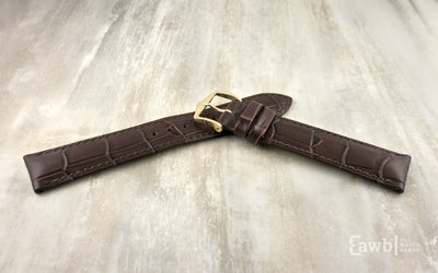 Duke by HIRSCH - Men's EXTRA-LONG Brown Alligator Grain Leather Watch Strap
