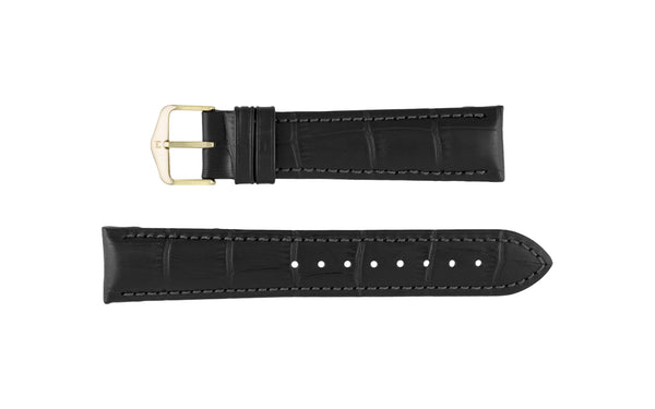 Duke by HIRSCH - Men's SHORT Black Alligator Grain Leather Watch Strap