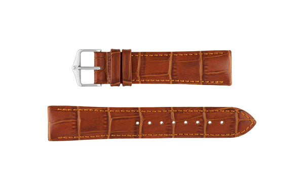 Duke by HIRSCH - Men's LONG Golden Brown Alligator Grain Leather Watch Strap