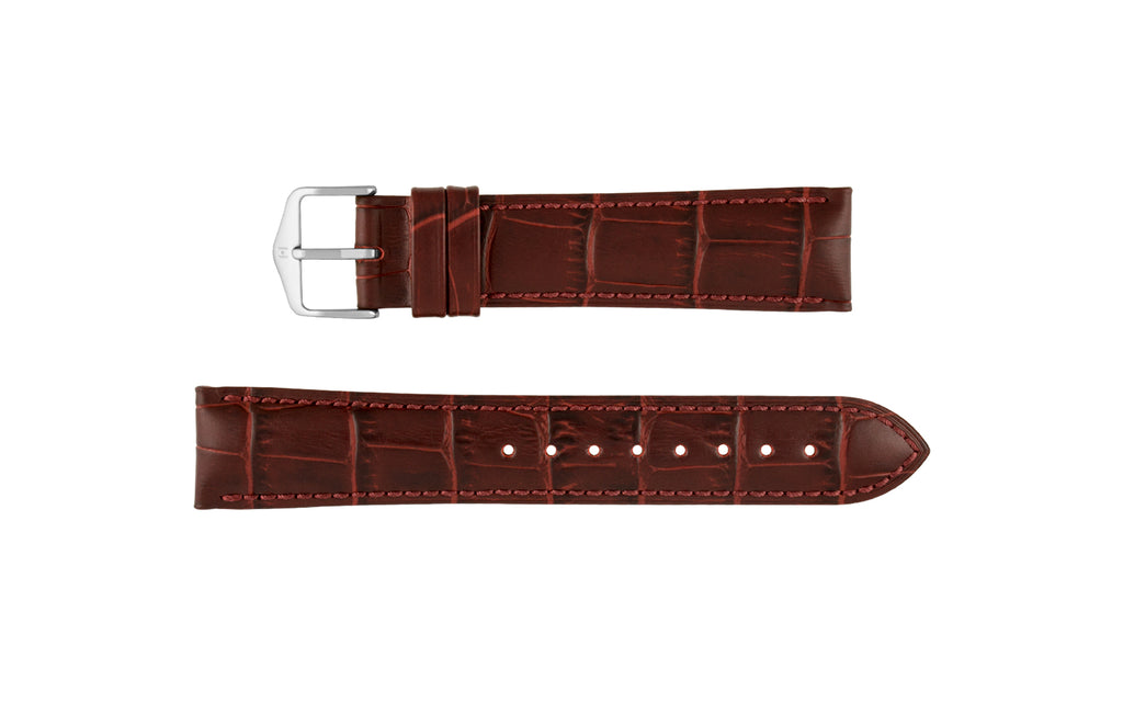 Duke by HIRSCH - Women's Burgundy Alligator Grain Leather Watch Strap