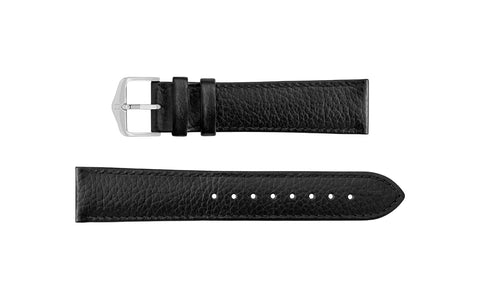 Kansas by HIRSCH - Men's Black Buffalo Embossed Calfskin Leather Watch Strap