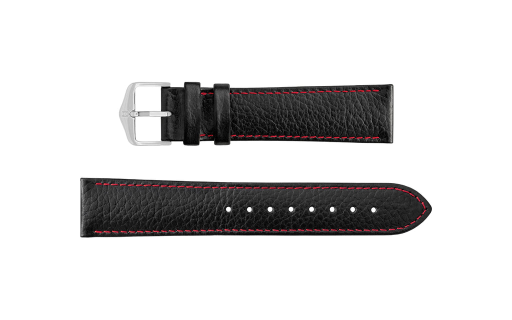 Kansas by HIRSCH - Men's Black & Red Buffalo Embossed Calfskin Leather Watch Strap