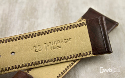 Ascot by HIRSCH - Men's Brown Smooth Padded Leather Watch Strap