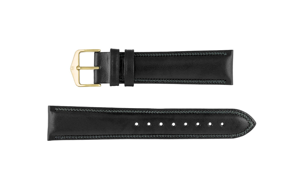 Ascot by HIRSCH - Men's black Smooth Padded Leather Watch strap