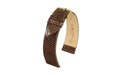 Lizard by HIRSCH - Men's LONG Brown Genuine Lizard Watch Strap