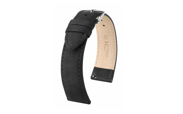 Osiris Nubuck by HIRSCH - Men's Black Suede-Effect Nubuck Leather Watch Strap