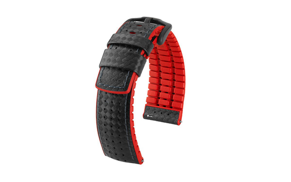 Ayrton by HIRSCH - Black & Red Carbon Fiber Style Calfskin Performance Watch Strap
