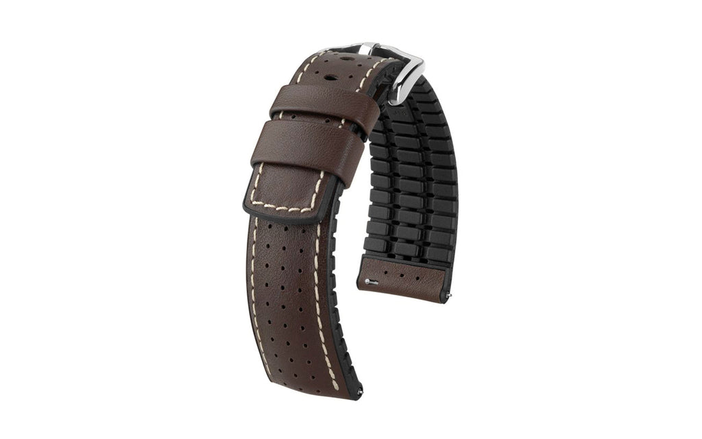 Tiger by HIRSCH - Brown Perforated Smooth Calfskin Performance Watch Strap