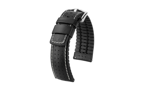 Tiger by HIRSCH - Black Perforated Smooth Calfskin Performance Watch Strap