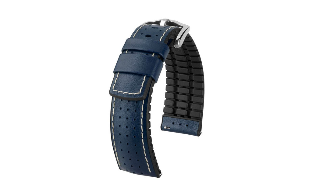 Tiger by HIRSCH - Blue Perforated Smooth Calfskin Performance Watch Strap