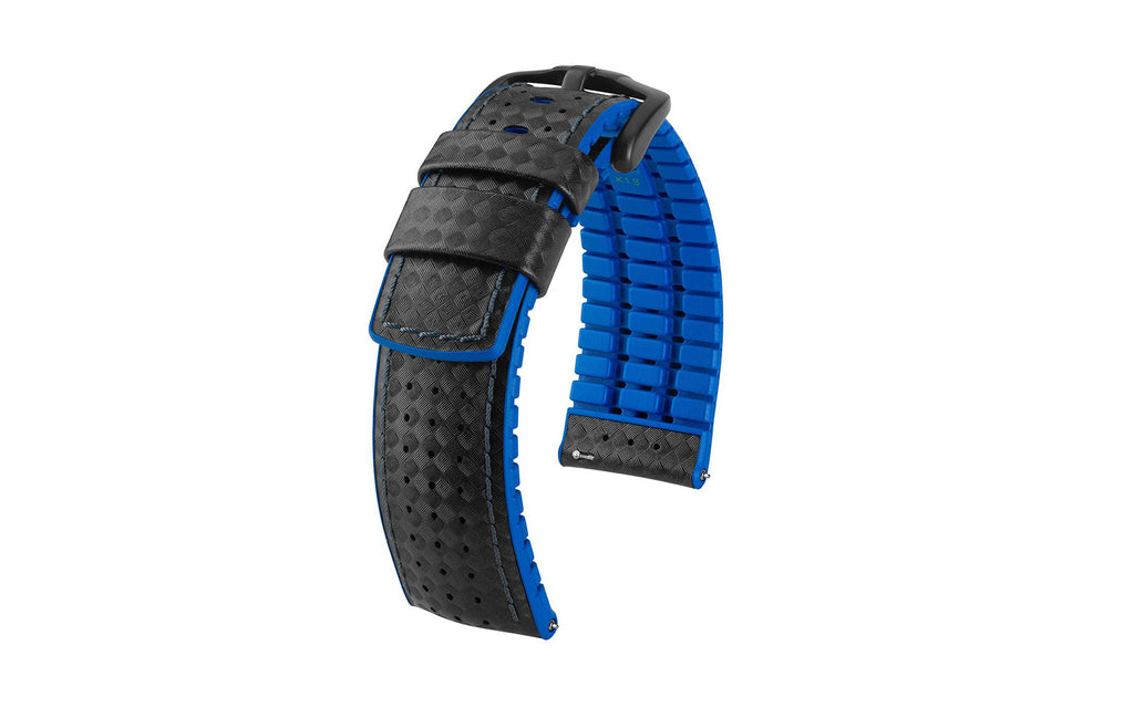 Ayrton by HIRSCH - Black & Blue Carbon Fiber Style Calfskin Performance Watch Strap