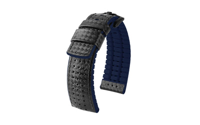 Ayrton by HIRSCH - Men's Black/Navy Textured Leather Performance Watch Strap