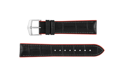 Andy by HIRSCH - Men's Black/Red Alligator Embossed Leather Performance Watch Strap