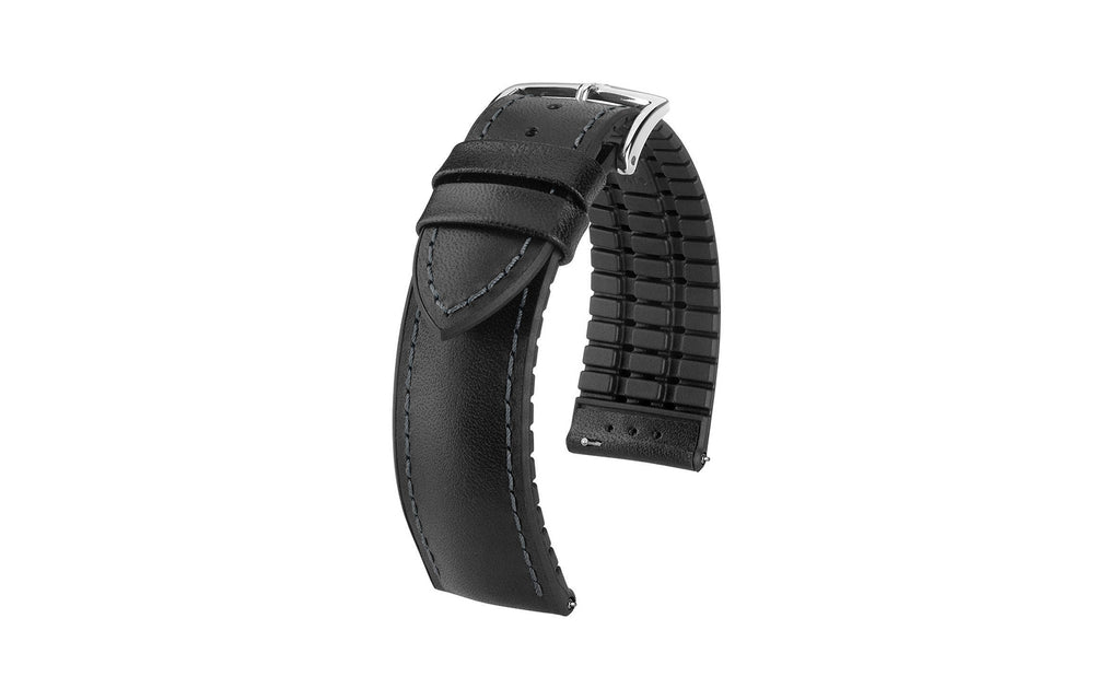 James by HIRSCH - SHORT Black Italian Calfskin Performance Watch Strap