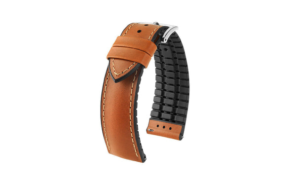 James by HIRSCH - SHORT Golden Brown Italian Calfskin Performance Watch Strap
