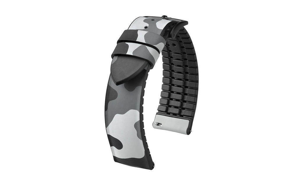 John by HIRSCH - Gray Camouflage Natural Caoutchouc Rubber Performance Watch Strap