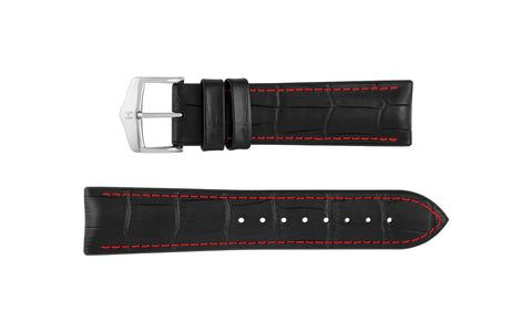 George by HIRSCH - Black & Red Stitch Alligator Grain Leather Performance Watch Strap