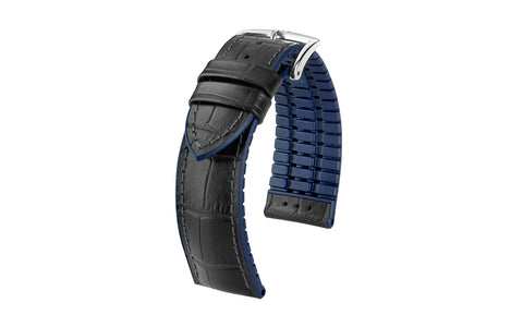 Andy by HIRSCH - Black & Navy Alligator Embossed Calfskin Performance Watch Strap